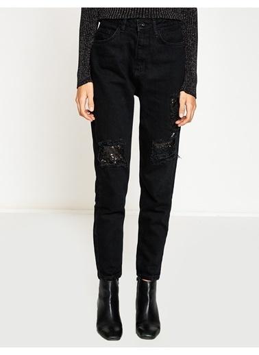 Koton Yırtık Jean Pantolon Siyah